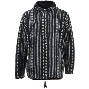 Fleece Lined Brushed Cotton Hooded Jacket Cardigan - Black Diamond