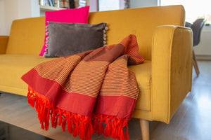 Striped Cotton Blanket With Tassel Edging - Carrot Orange Red