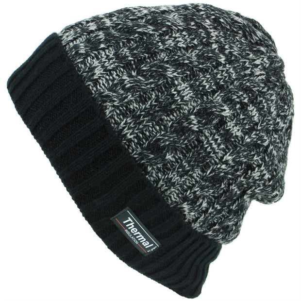 Cable Knit Marl Beanie Hat with Turn-up - Black
