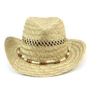 Straw Cowboy Hat with Wood Bead Band