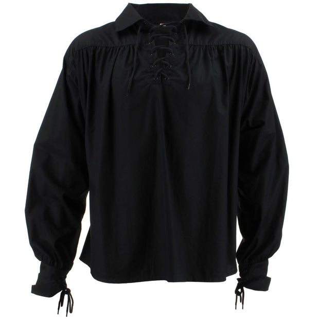 Long Sleeve Cotton Pirate Shirt - Black