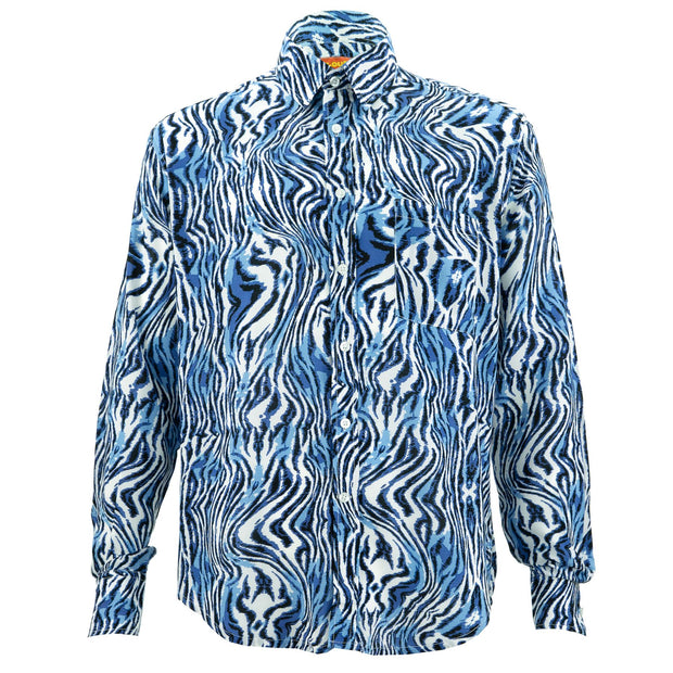 Regular Fit Long Sleeve Shirt - Blue Zebra