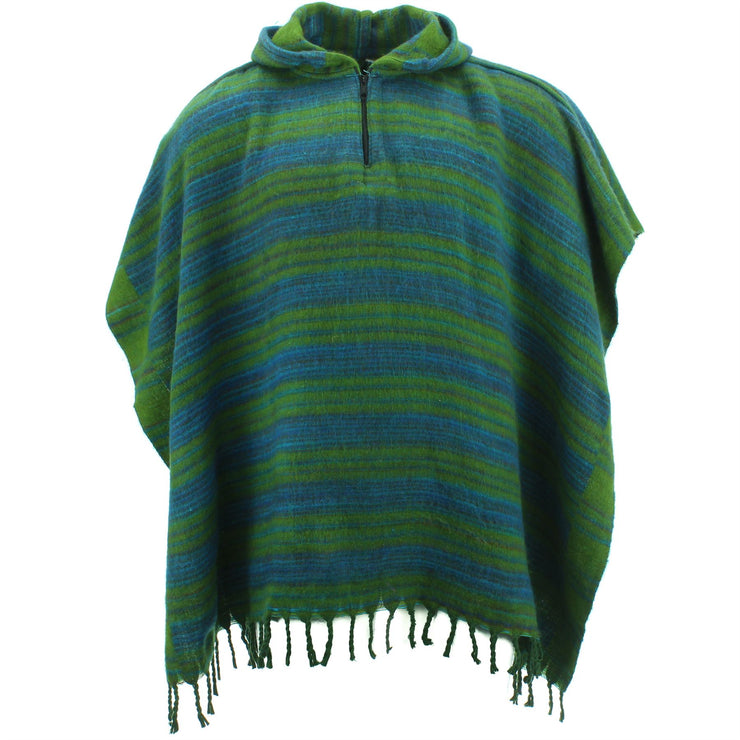 Hooded Square Poncho - Green & Blue