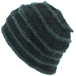 Chunky Ribbed Wool Knit Beanie Hat with Space Dye Design - Black