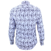 Tailored Fit Long Sleeve Shirt - Rose Print on Pale Blue
