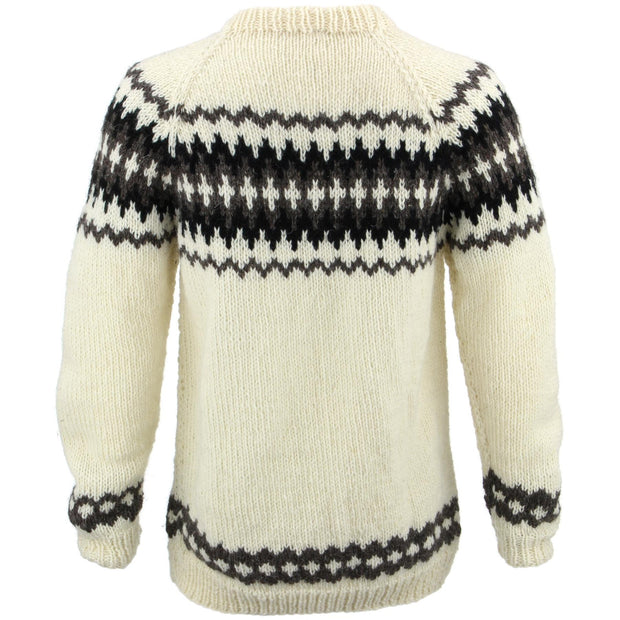 Chunky Wool Knit Nordic Fairisle Pattern Jumper - Off-White