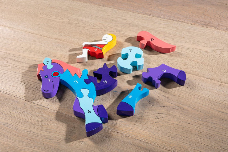 Handmade Wooden Jigsaw Puzzle - Number Horse