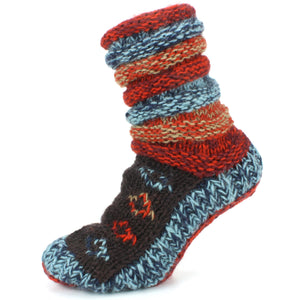 Chunky Wool Knit Abstract Pattern Slipper Socks - Red