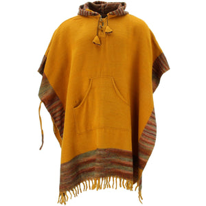 Soft Vegan Wool Hooded Tibet Poncho - Mustard Sunset