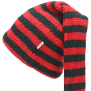 Wool Knit 'Tinky Winky' Tail Beanie Hat - Red & Black