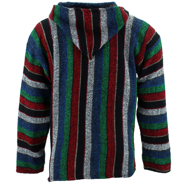 Mexican Baja Jerga Hoody - Wide Stripe Multi