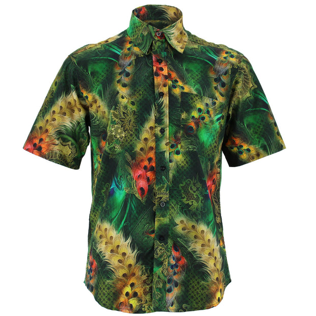 Regular Fit Short Sleeve Shirt - Peacock Feathers