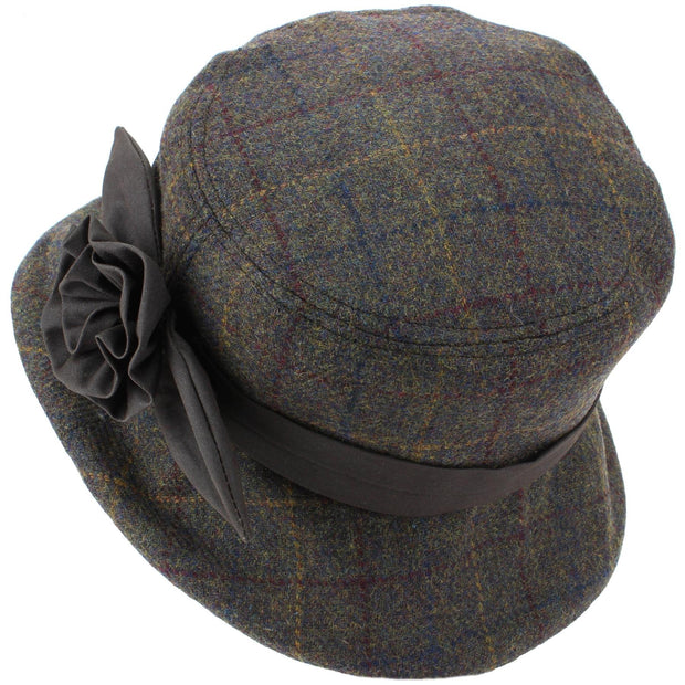 Ladies Wool Tweed Cloche Hat - Brown