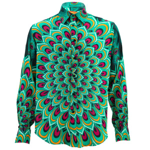 Regular Fit Long Sleeve Shirt - Peacock Mandala - Green
