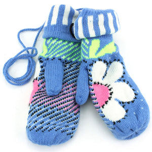 Ladies Flower Mittens - Blue