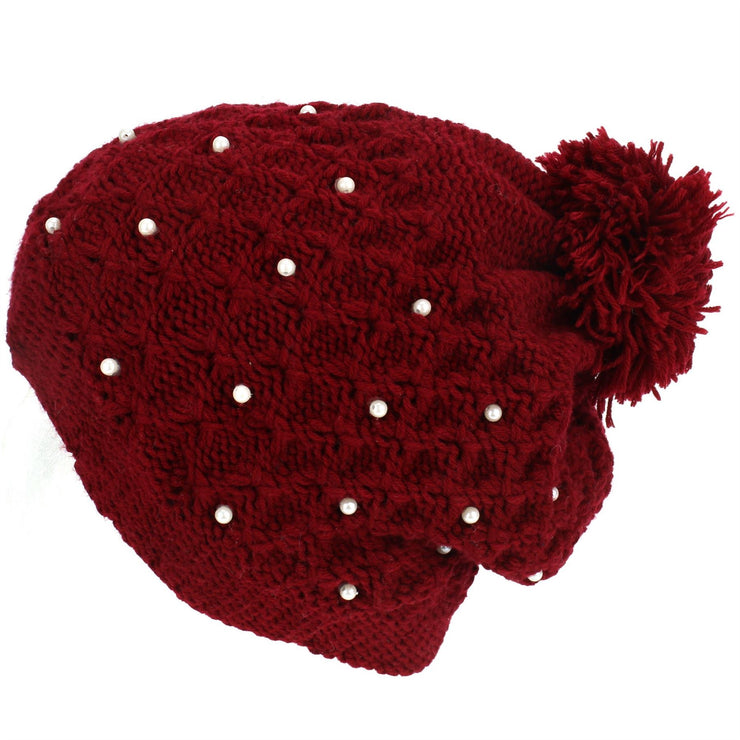 Pearl Lattice Bobble Beanie Hat - Red