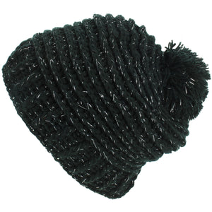 Ribbed Tinsel Bobble Beanie Hat - Black