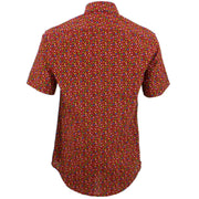 Tailored Fit Short Sleeve Shirt - Maroon Multi-coloured Ovals