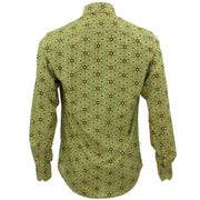 Tailored Fit Long Sleeve Shirt - Yellow & Green Aztec