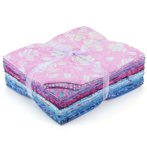 Cotton Batik Fat Quarter Pre Cut Fabric Bundle - Pinks to Blues