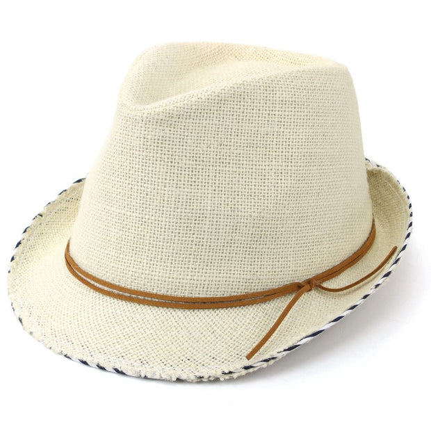 Hessian Cotton Trilby Fedora Hat with Leather Band - Off White