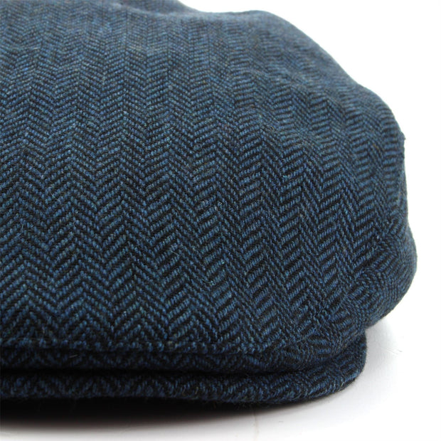 Herringbone Flat Cap with Quilted Lining - Blue
