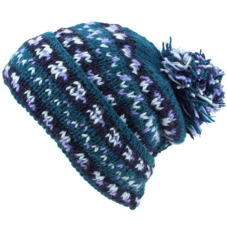 Chunky Wool Knit Baggy Slouch Beanie Bobble Hat - Teal