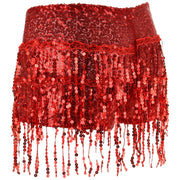 Sequin Tassel Hot Pants - Red