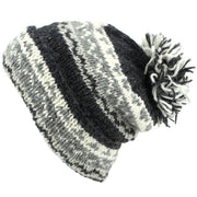 Chunky Wool Knit Baggy Slouch Beanie Bobble Hat - Grey