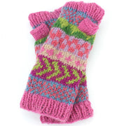 Chunky Wool Knit Arm Warmers - Chevron - Pink
