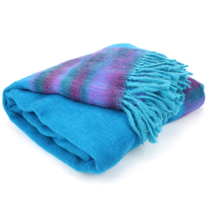 Tibetan Wool Blend Shawl Blanket - Blue with Purple Reverse