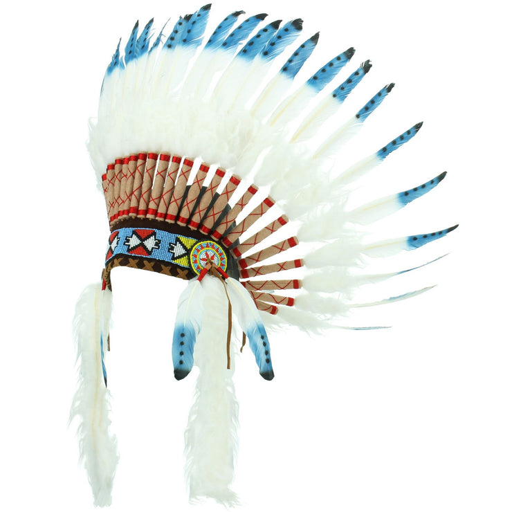Native Amercian Chief Headdress - Blue with Black Spots (White Fur)