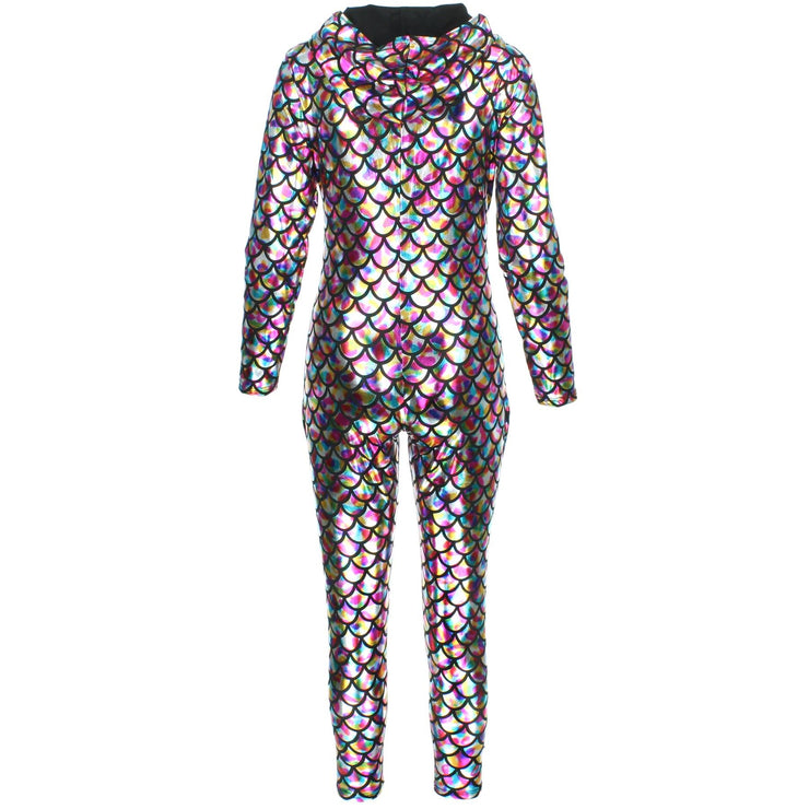Shiny Mermaid Scale Hooded Catsuit - Rainbow