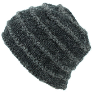 Chunky Ribbed Wool Knit Beanie Hat with Space Dye Design - Charcoal
