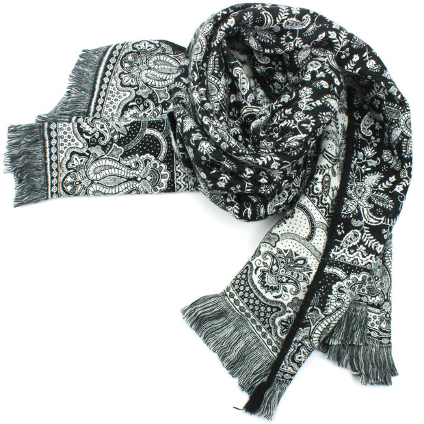 Acrylic Wool Shawl Blanket - Black Paisley - Arches
