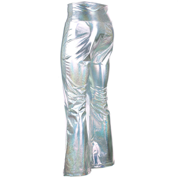Shiny Metallic Flares Trousers - Silver