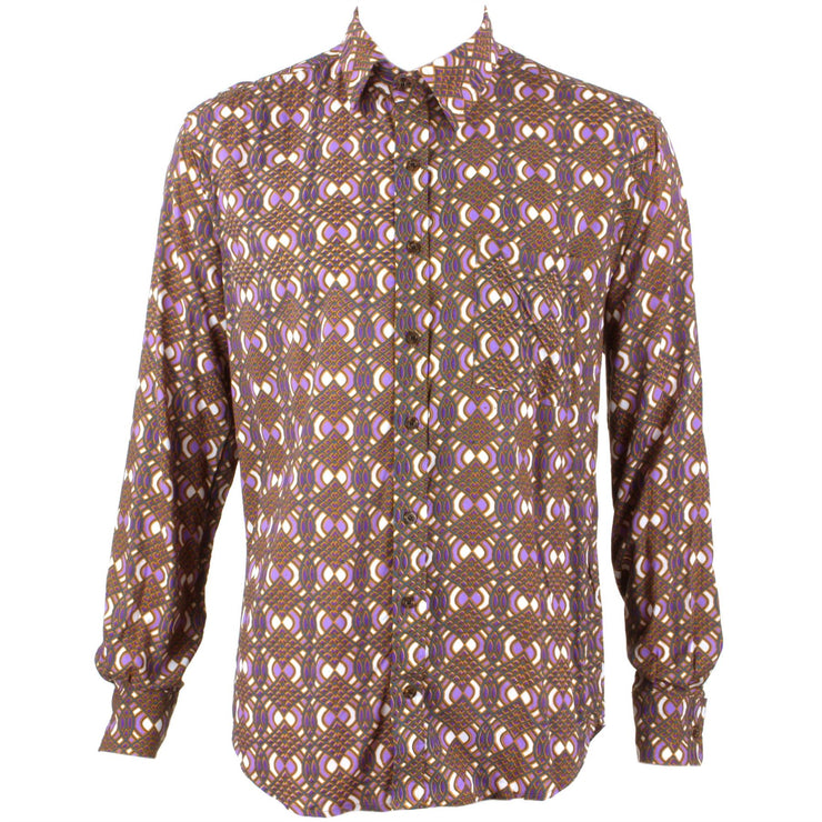 Regular Fit Long Sleeve Shirt - Brown & Purple Abstract