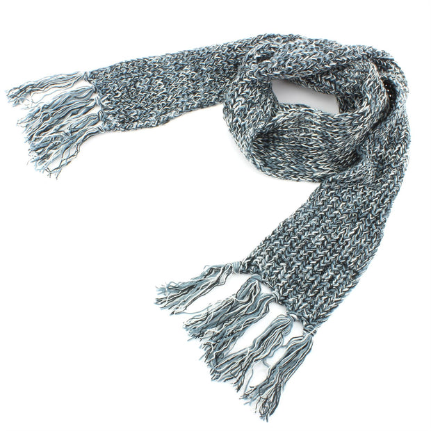 Long Narrow Acrylic Wool Knit Scarf - Teal & White