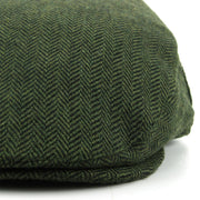 Herringbone Flat Cap with Quilted Lining - Green
