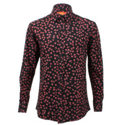 Regular Fit Long Sleeve Shirt - Black with Plum Red Stars