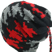 Wool Knit Tassel Beanie Hat - Red Houndstooth