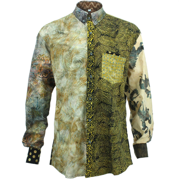 Regular Fit Long Sleeve Shirt - Random Mixed Batik - Brown