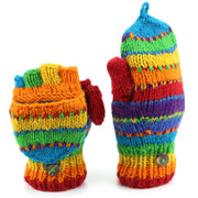 Chunky Wool Knit Fingerless Shooter Gloves - Stripe - Rainbow