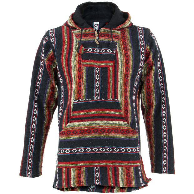 Woven Cotton Baja Hoodie - Black & Red
