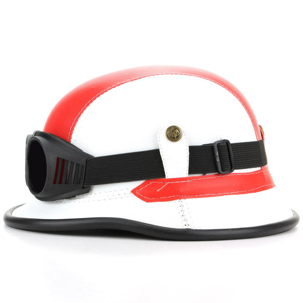 Combat Novelty Festival Helmet with Goggles - Red & White