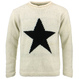 Chunky Wool Knit Star Jumper - Cream & Black