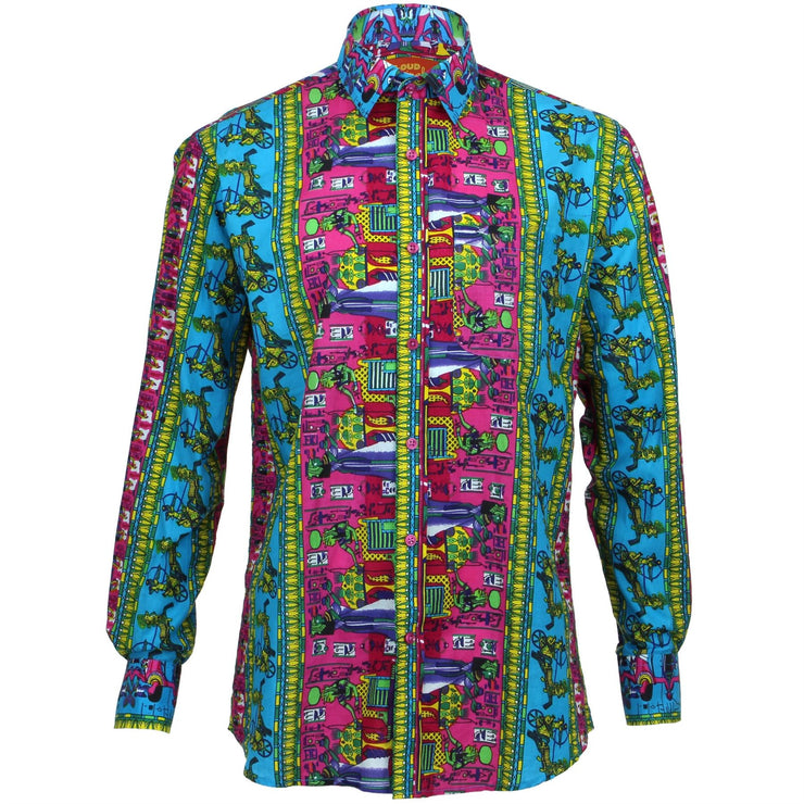 Regular Fit Long Sleeve Shirt - Egyptian Hieroglyphics