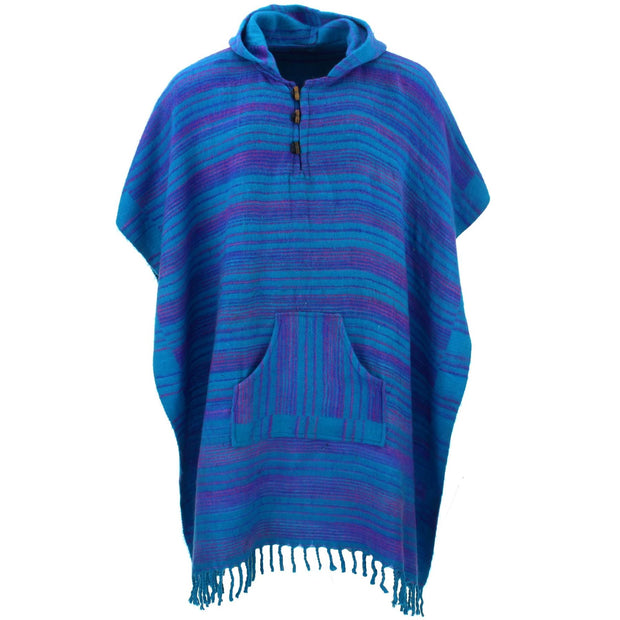 Vegan Wool Square Hooded Poncho with Toggles - Blue