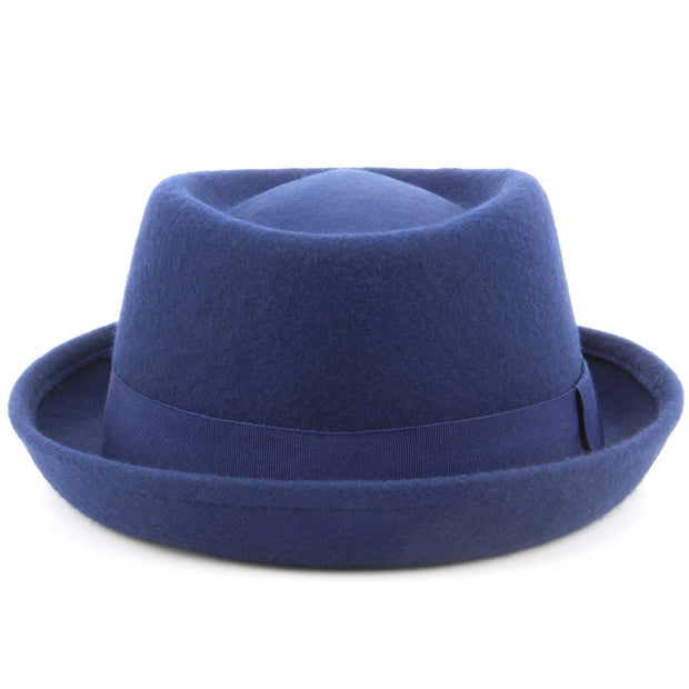 100% Wool felt Pork pie hat with band - Blue