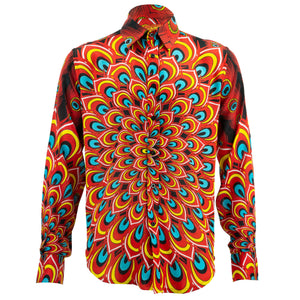 Regular Fit Long Sleeve Shirt - Peacock Mandala - Flame